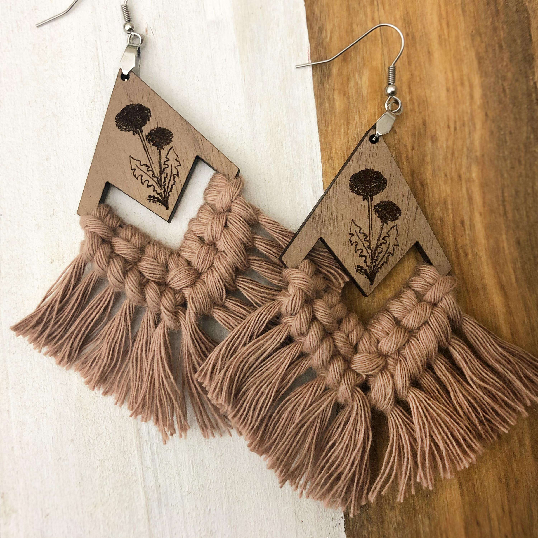 Dandelion Engraved Wood Earrings