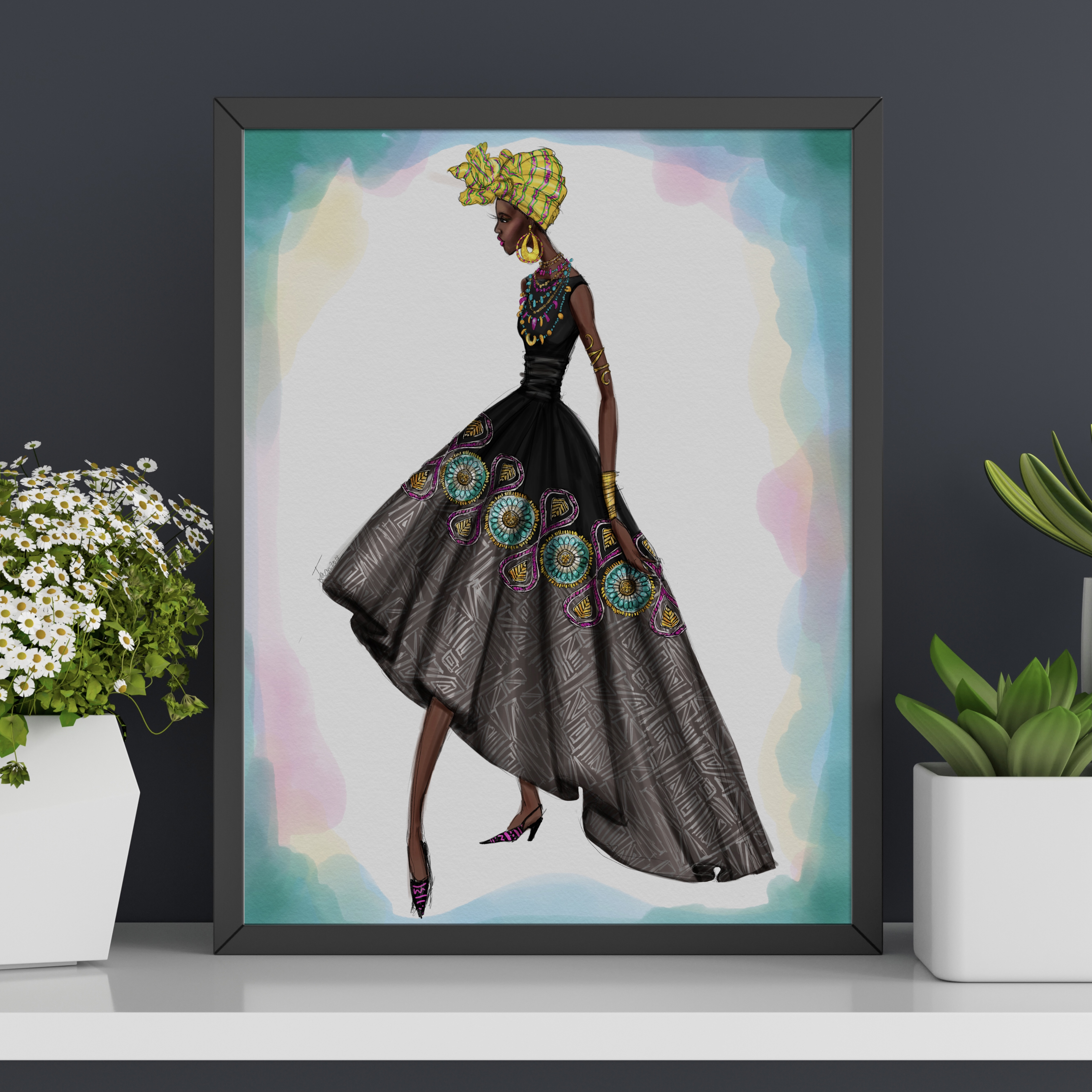 "Fashion Illustration Art Print POSH Girls ""Always Ghana Love You"" VERSION 2"