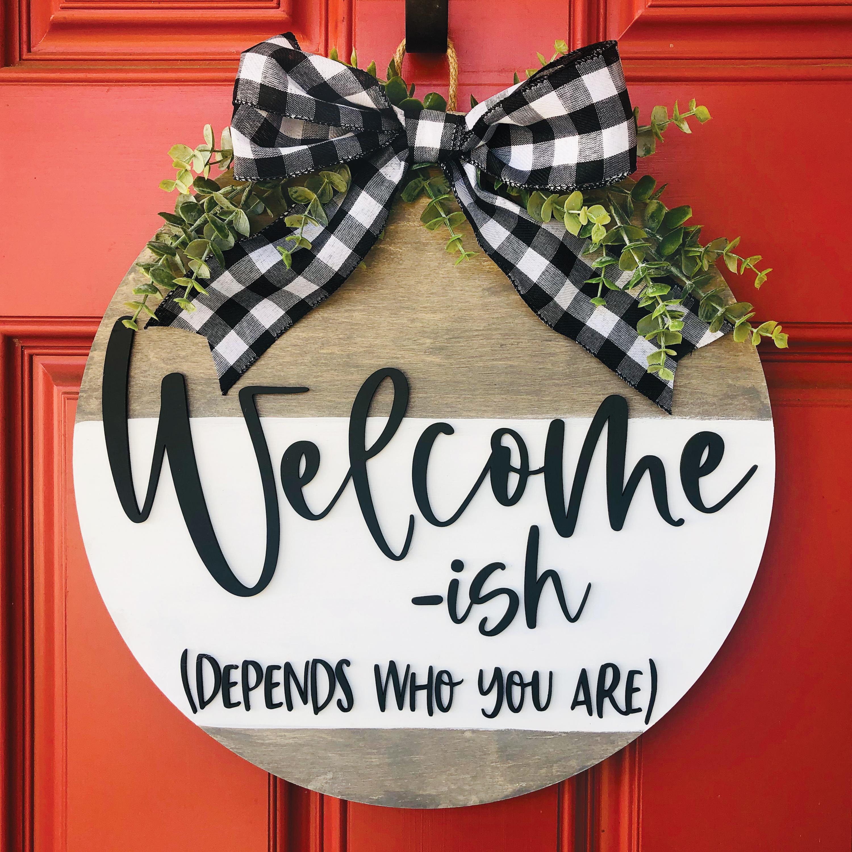Welcome-ish Wood Door Hanger