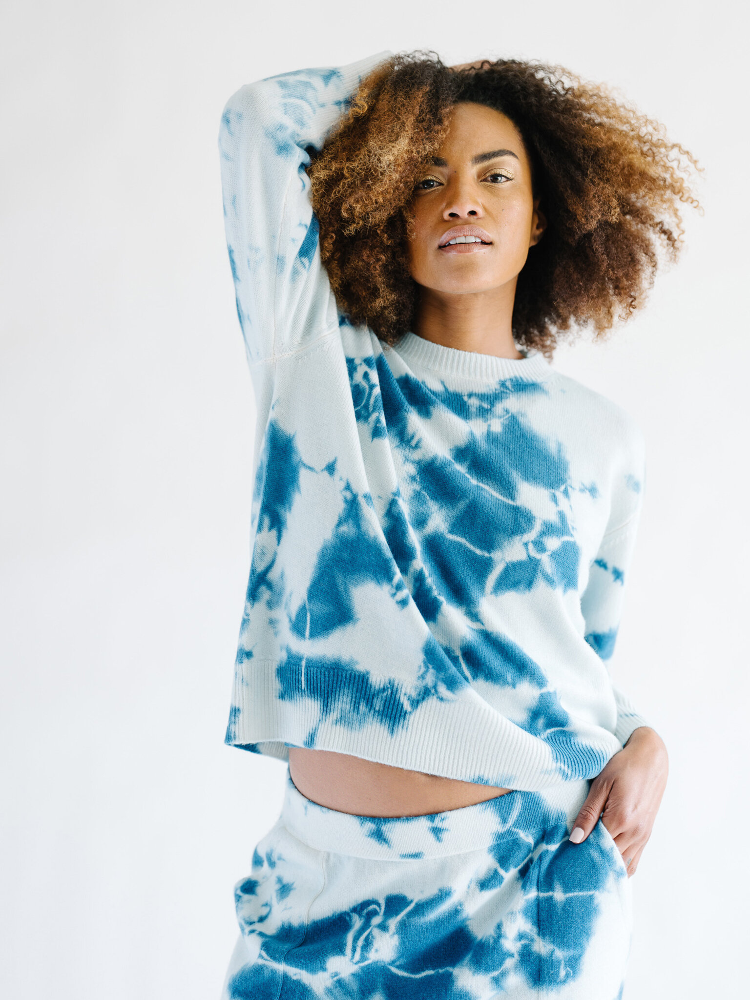 Cashmere Tie Dye Sweater / Blue
