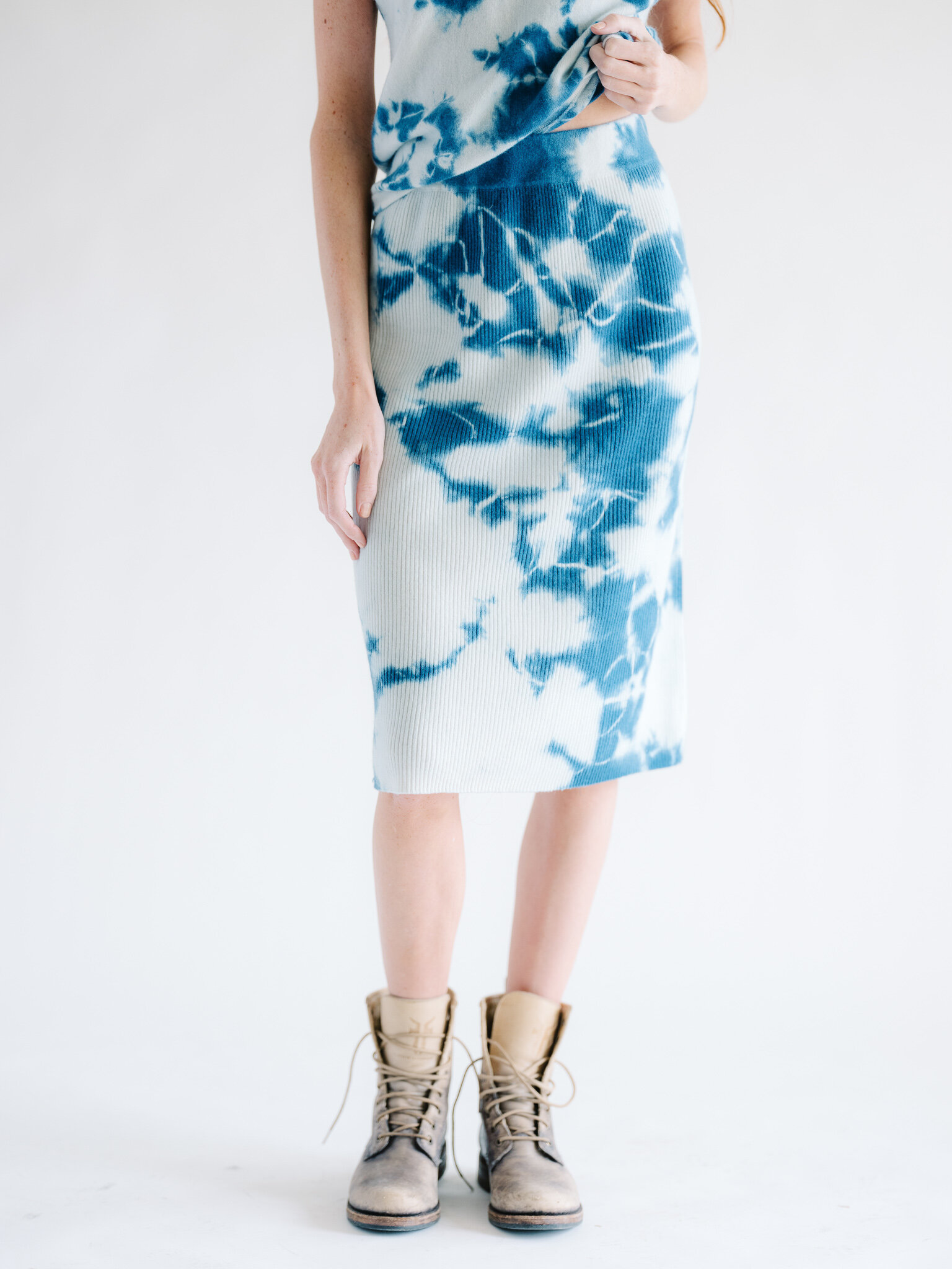 Cashmere Tie Dye Midi Skirt