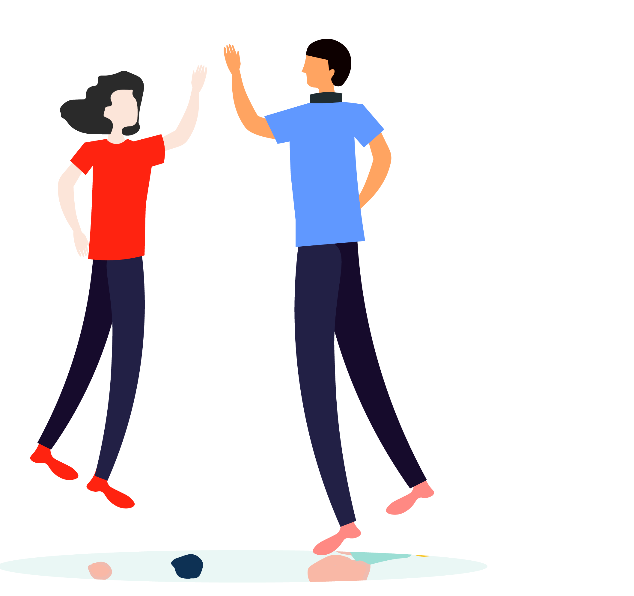 Icon of male and female high-fiving