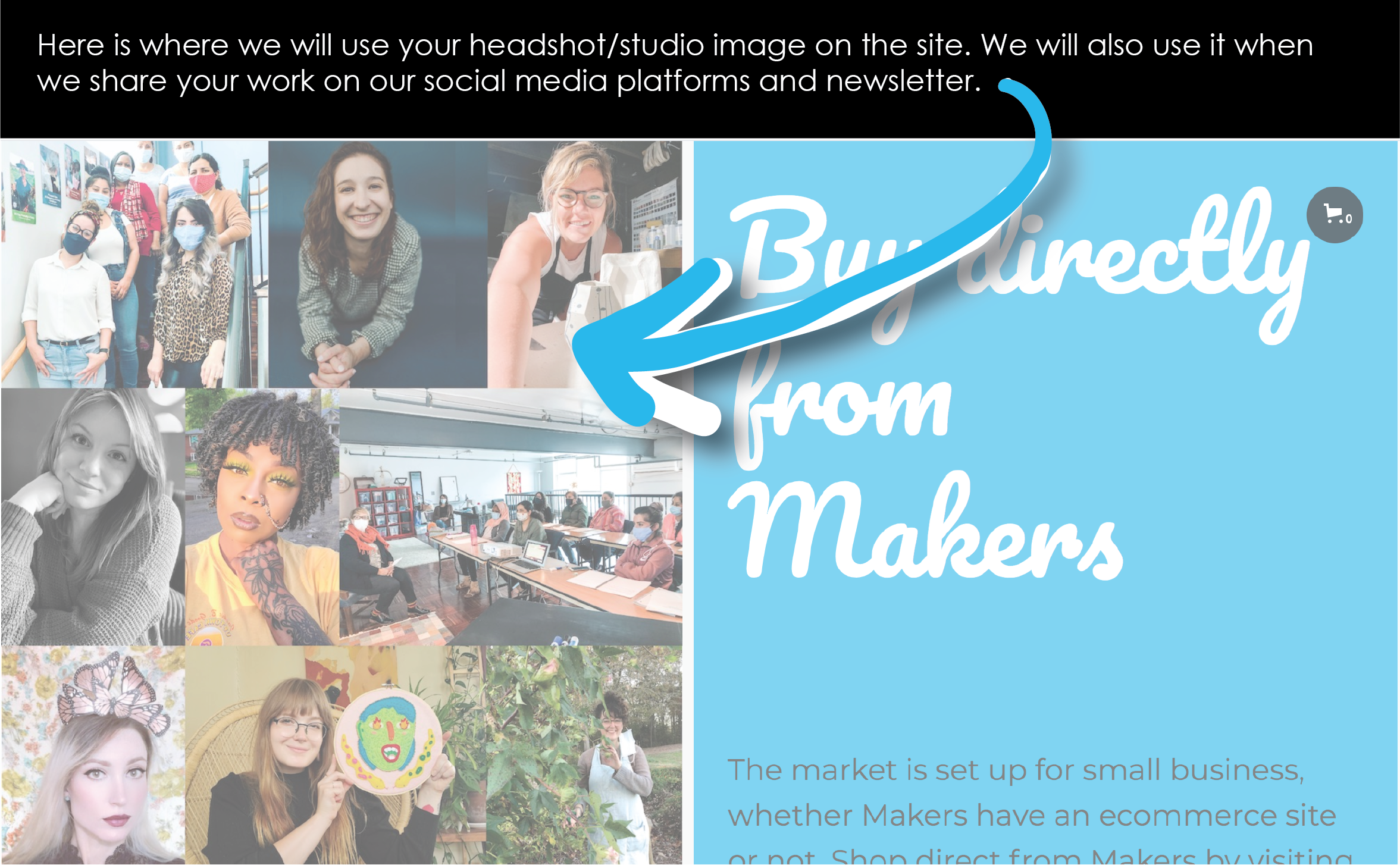 Screen shot shows the Makers Market home page featuring an introduction to all the makers on the left in a photo collage of their headshots with encouragement on right to get to know the local makers and buy their work.