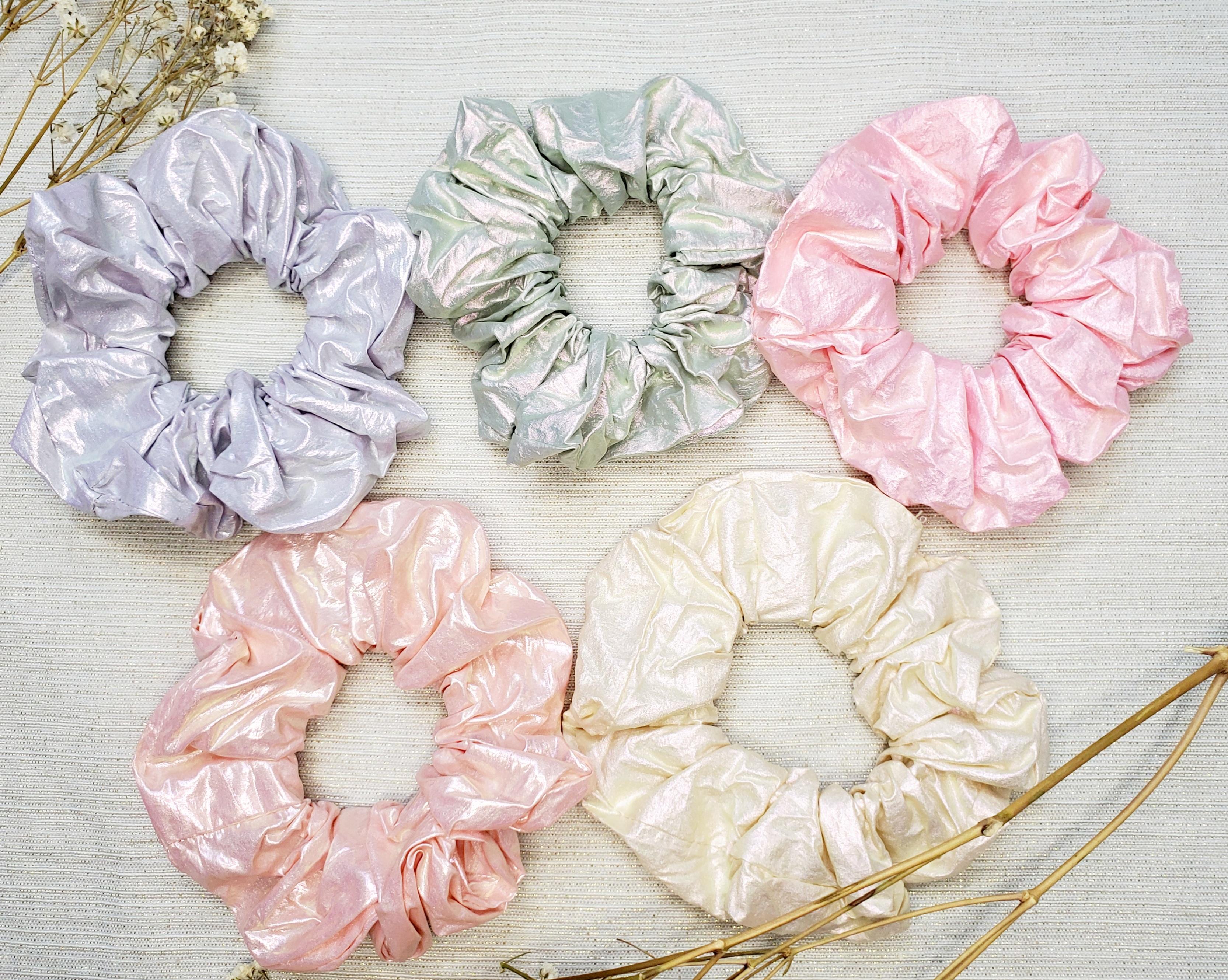 5 metallic pastel scrunchies