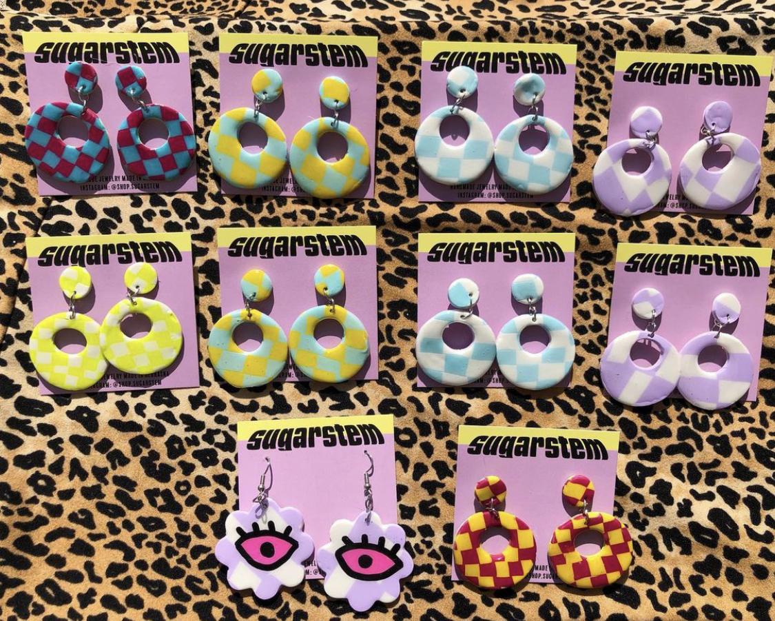 Checkerboard hoop earrings