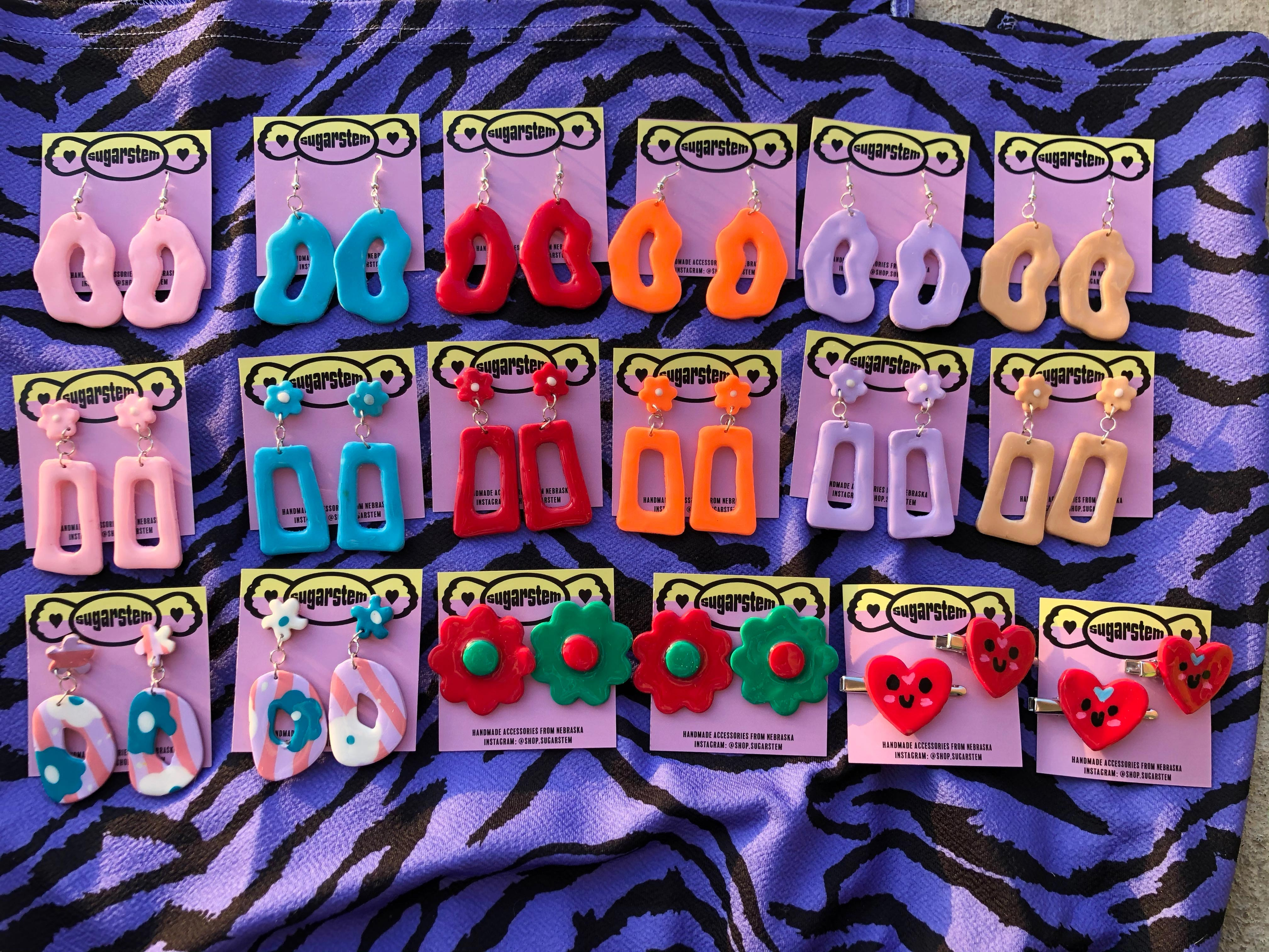 Rectangular and organically shaped hoops and heart-shaped hair clips