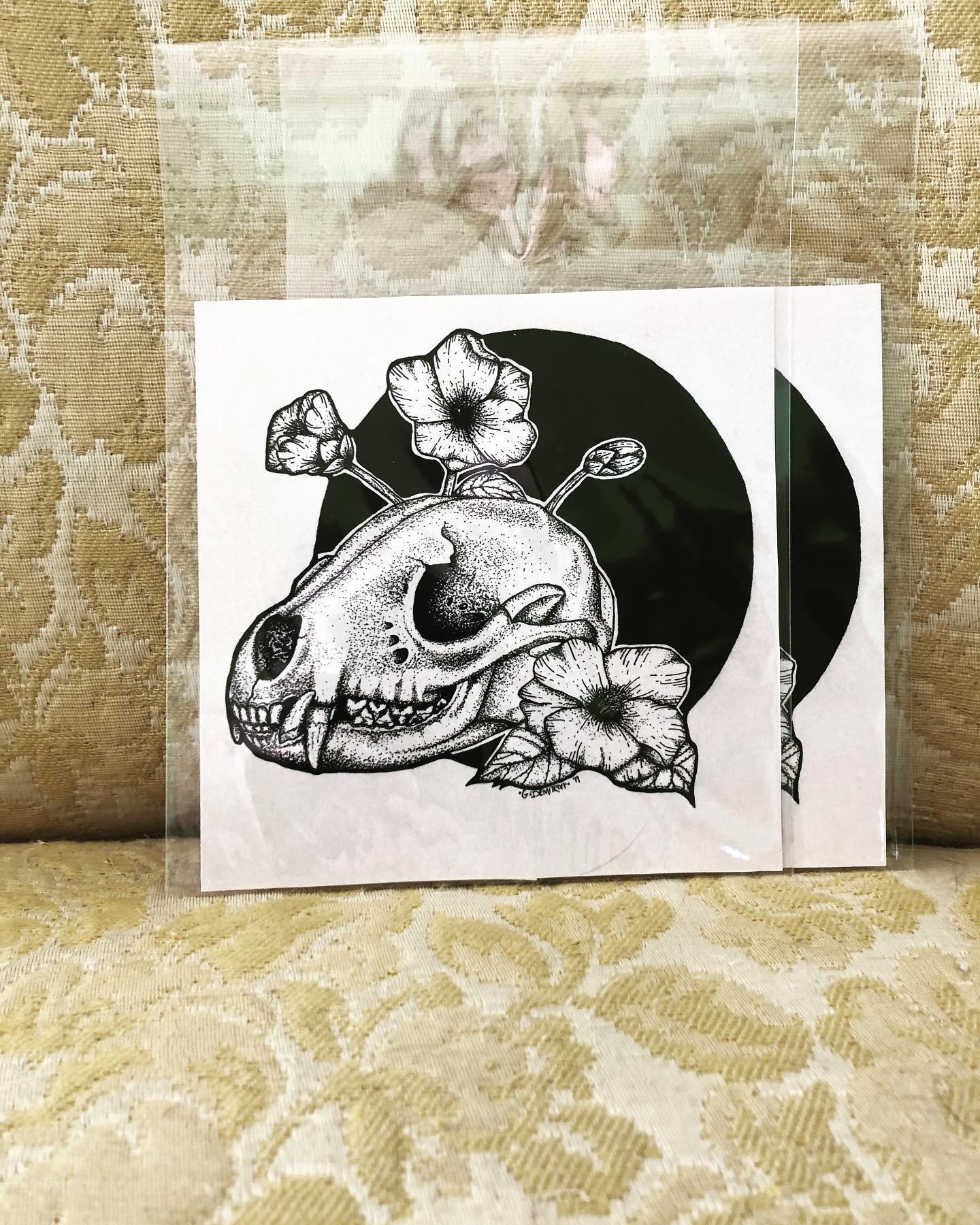 Raccoon skull with camellia flowers print