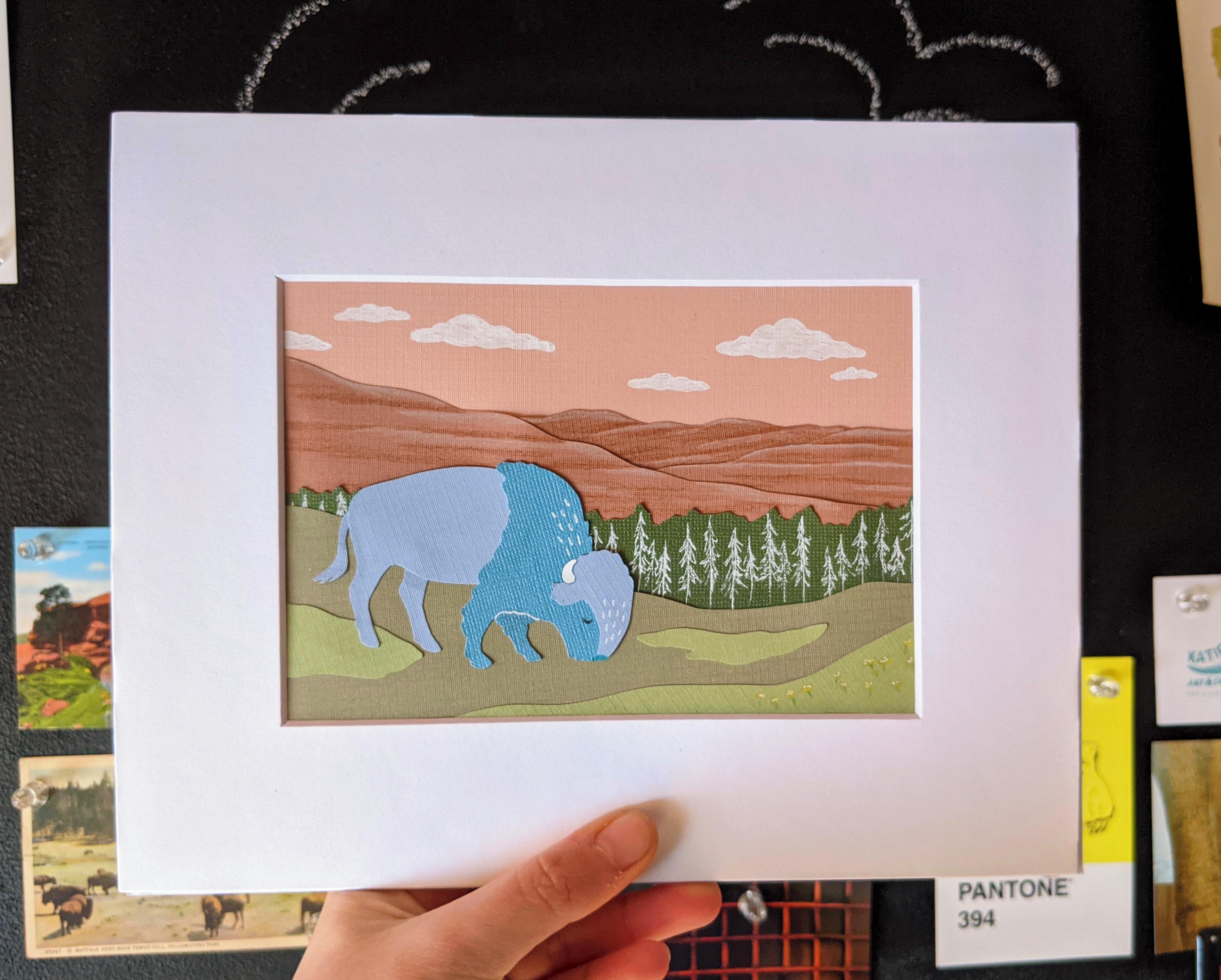 Cut paper bison