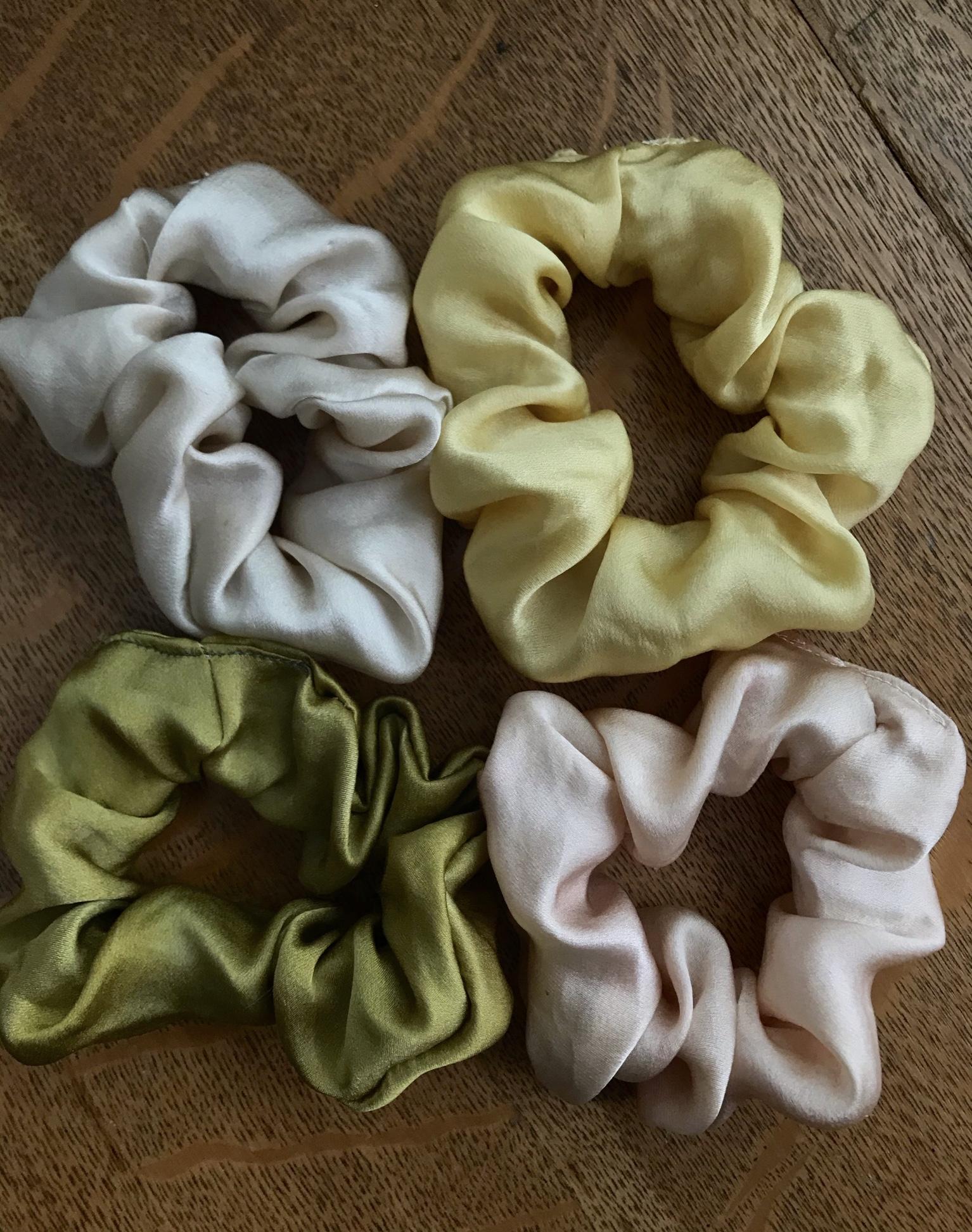 Hand-made silk scrunchies