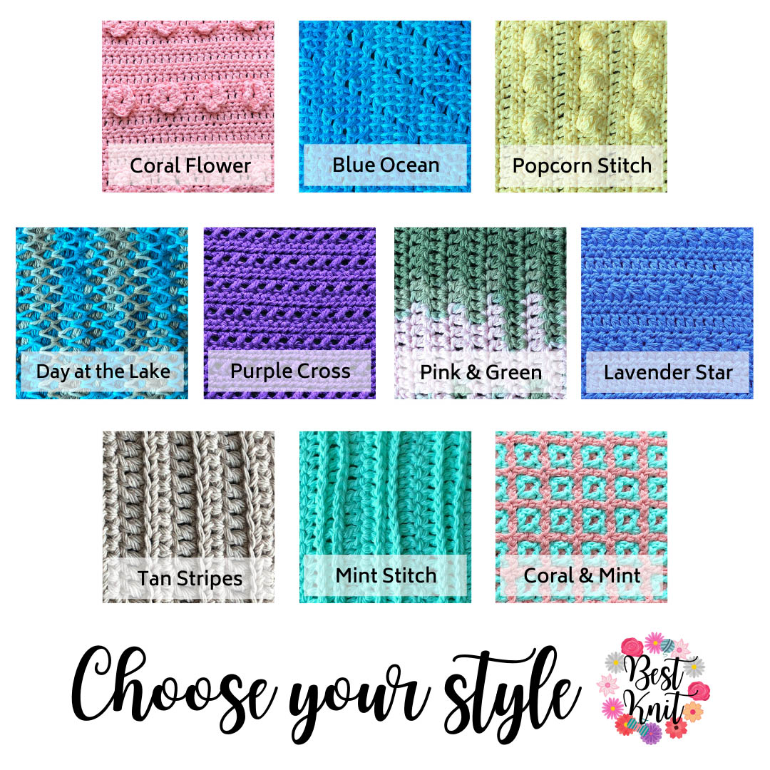Pattern guide for dishcloths.