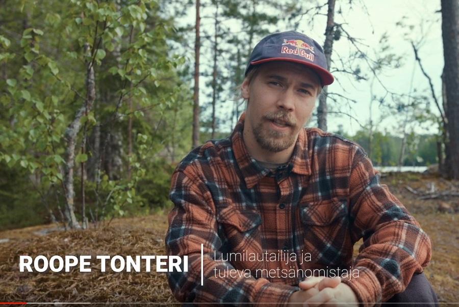 Lumilautailija Roope Tonterista metsänomistaja ja metsuri