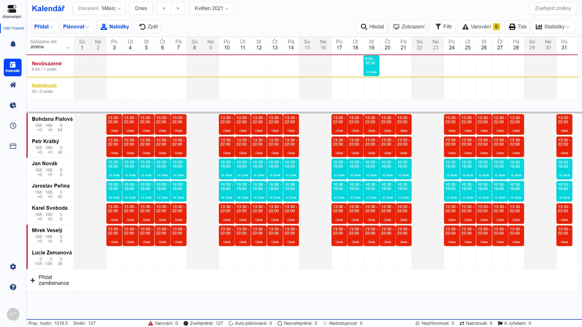 Přehledněji to už nejde - Plánování Dayswaps.