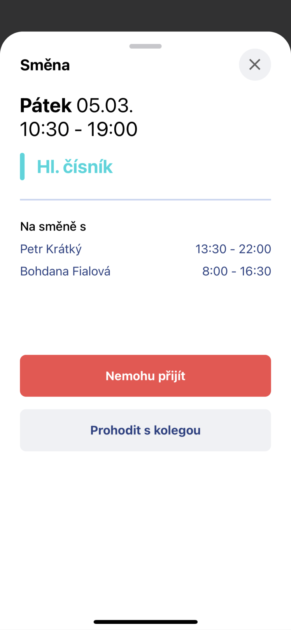 detail smeny v mobilni aplikaci