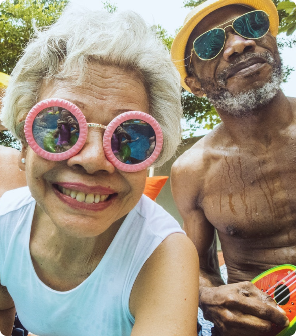 Older adults having fun in-person
