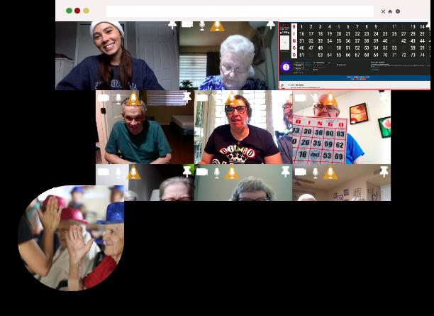 Group Video calling playing online bingo