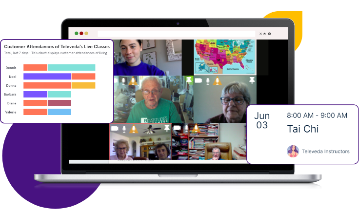 Laptop showing videocall of seniors learning global map