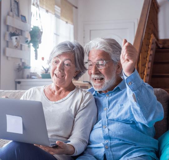 Couple  senior checking the laptop
