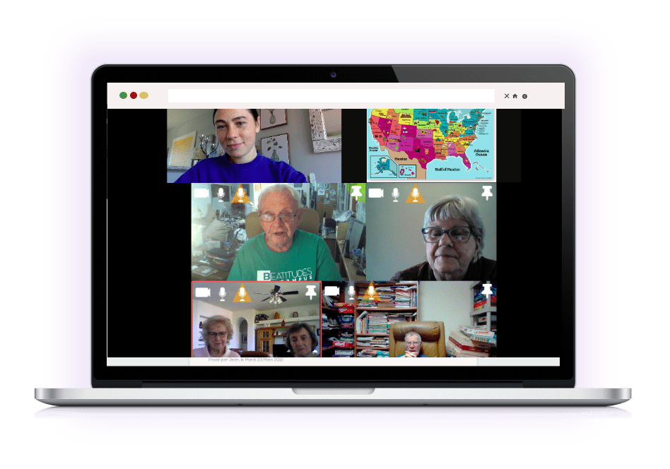 Preview virtual meeting on laptop