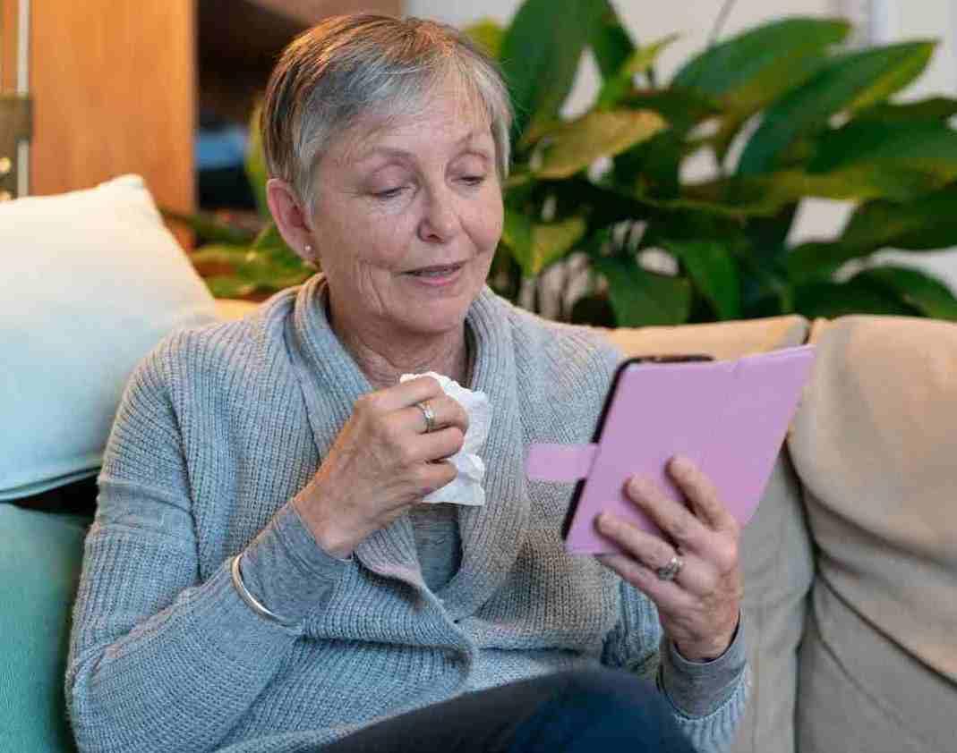 adult using telehealth