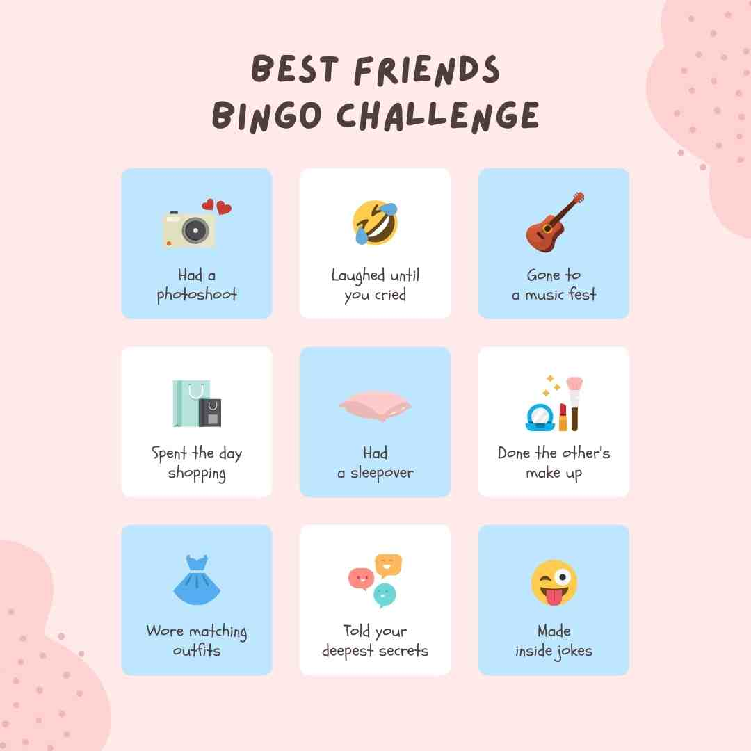 biest friends bingo card