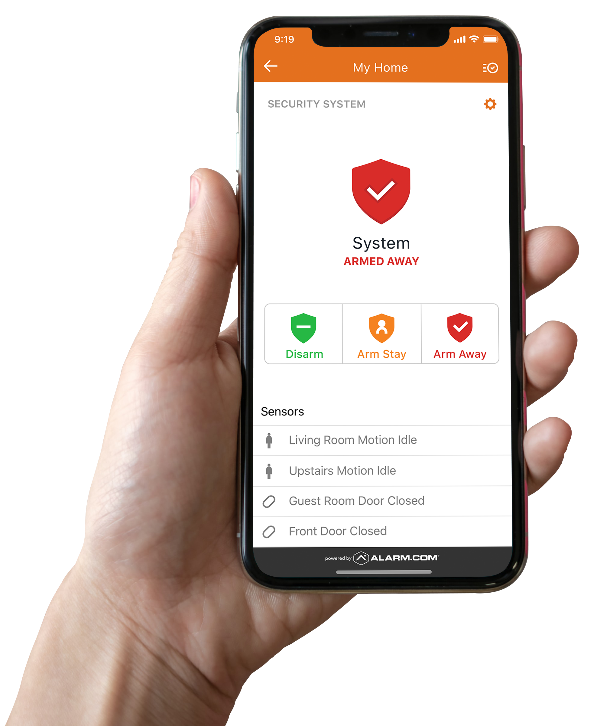 Hand holding phone with alarm.com app on the screen
