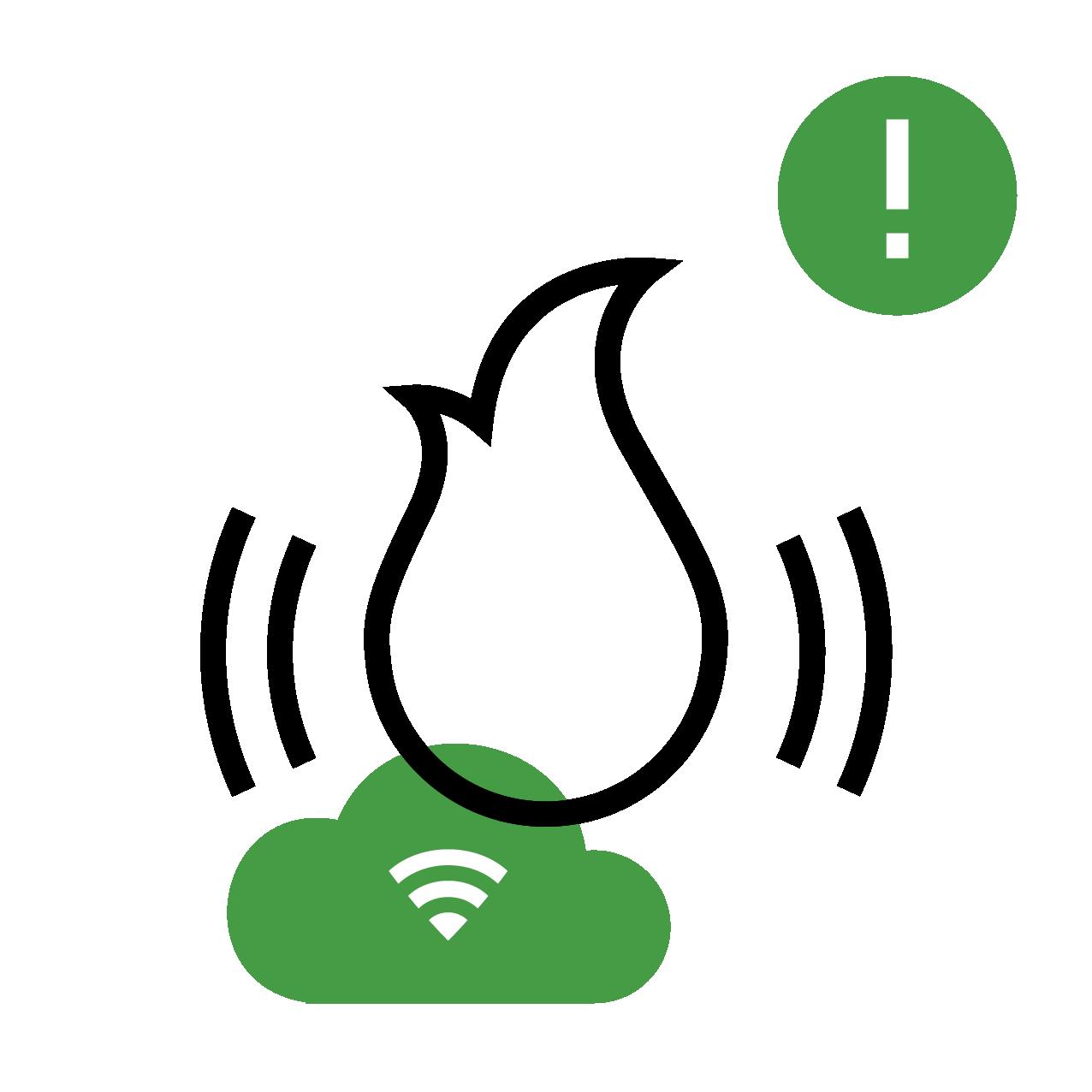 Fire alarm icon, smoke detectors, carbon monoxide detectors