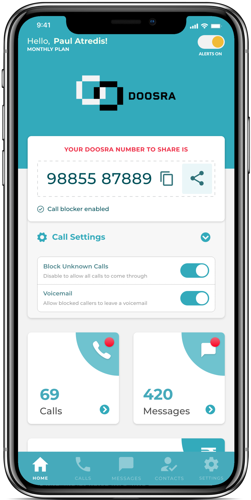 Doosra Homescreen on an iPhone