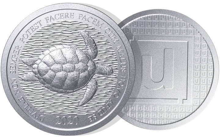 Limited edition Unifimoney Coins on transparent background