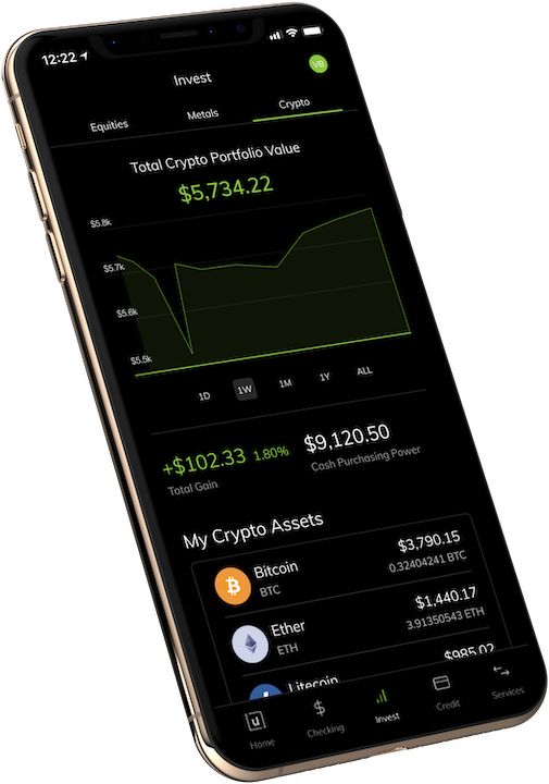 Unifimoney App - Showing Crypto Portfolio Value
