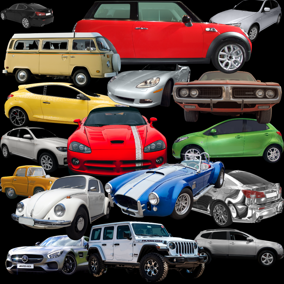 Collage of a variation of automobiles