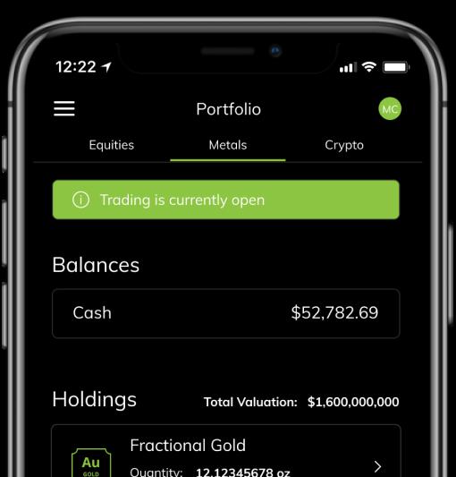 Iphone showing Metals Portfolio from Unifimoney app