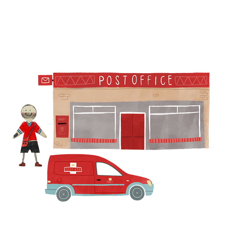 A hand drawn illustration of a postal worker stood next to his red post van.