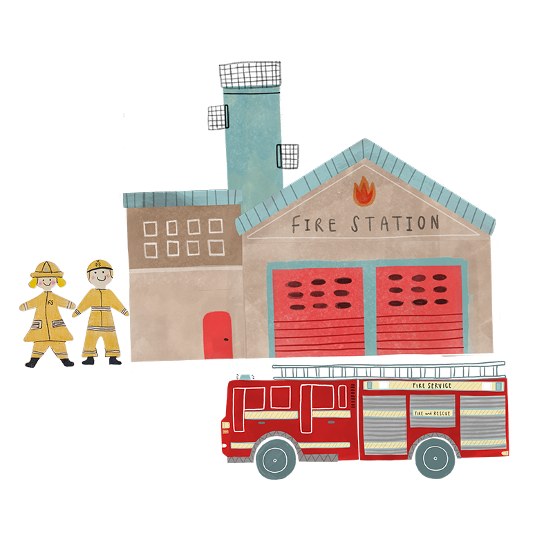 A hand drawn illustration of a male and female firefighter stood next to the fire station.