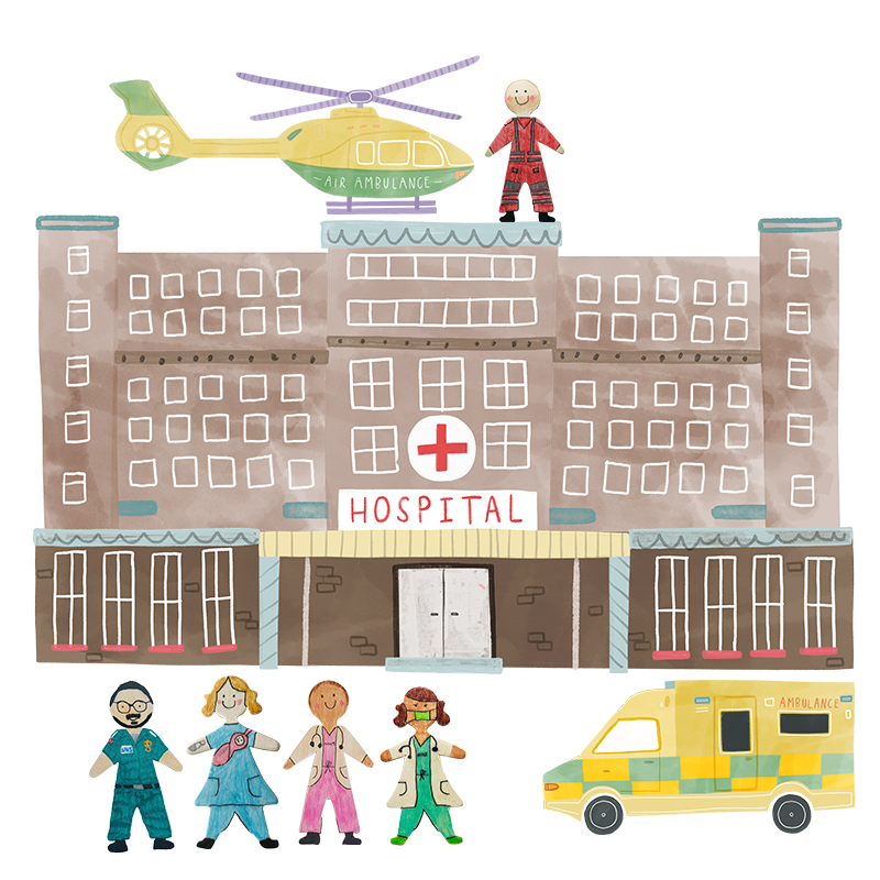A hand drawn illustration of a Hospital building with NHS staff lined up outside.