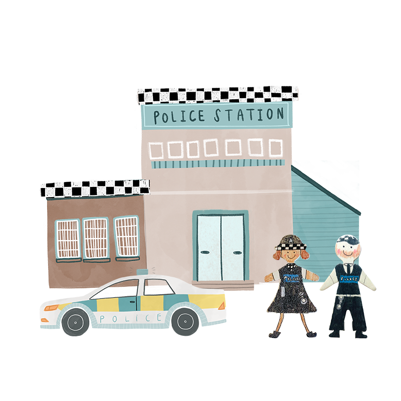A hand drawn illustration of a police building.