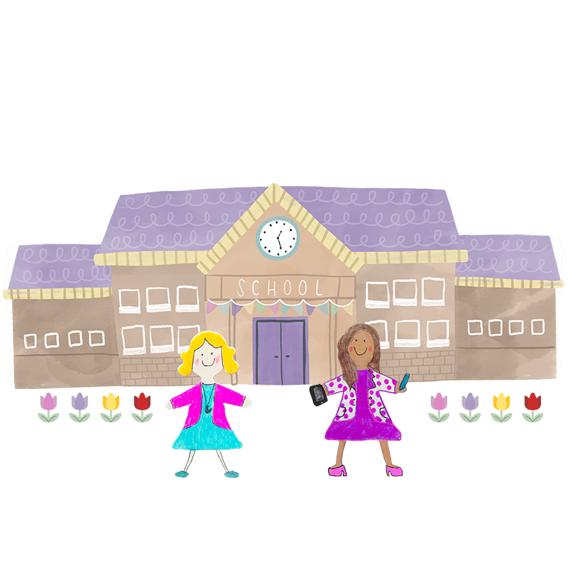 A hand drawn illustration of two teachers in front of a school with a purple roof.