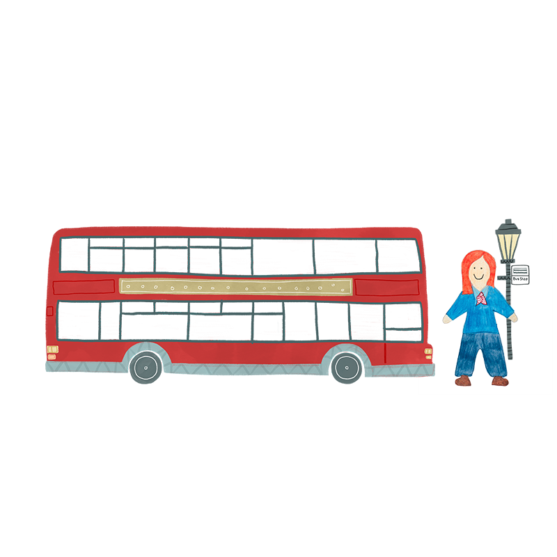 A hand drawn illustration of a female bus driver stood next to her red double decker bus.