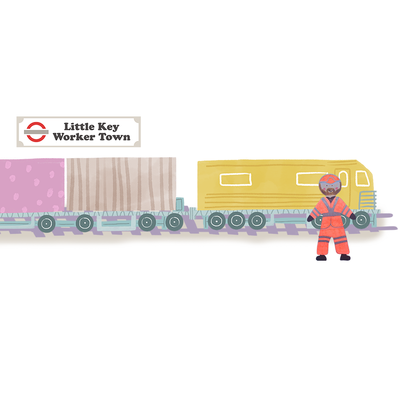 A hand drawn illustration of a train with yellow, brown and pink carriages.