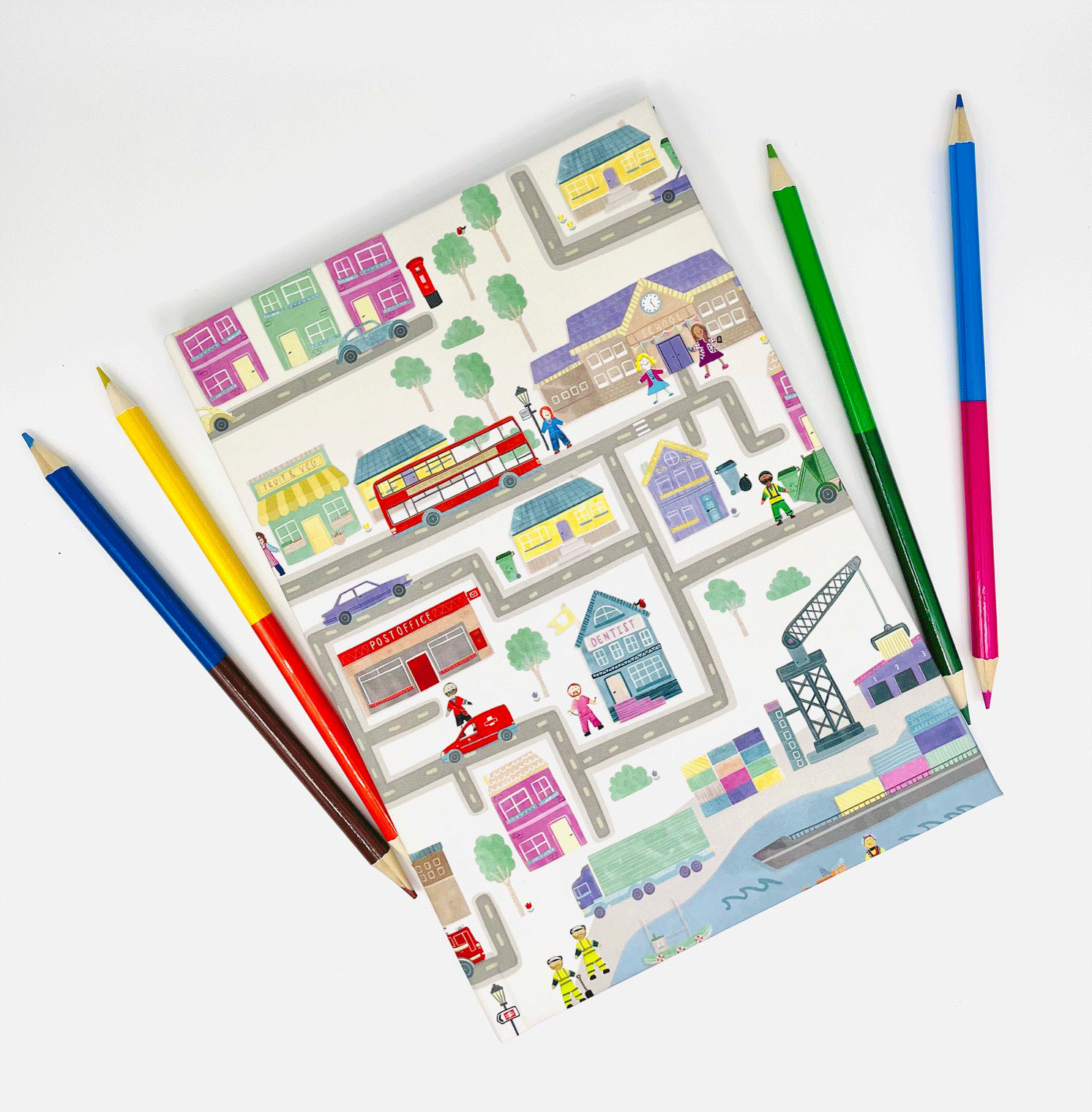 Vibrant watercolor town notebook.