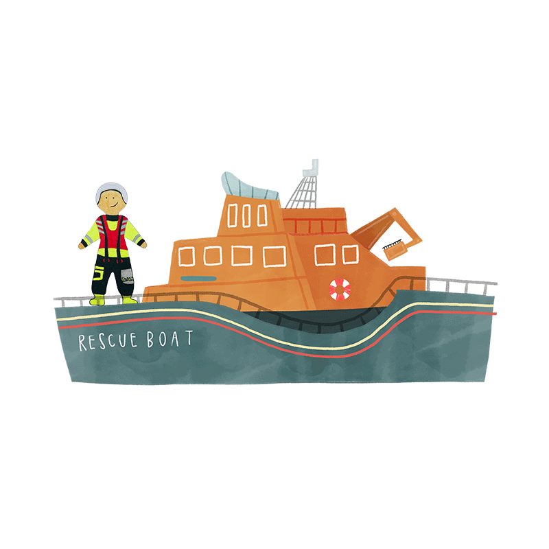 A hand drawn illustration of a yellow rescue boat.