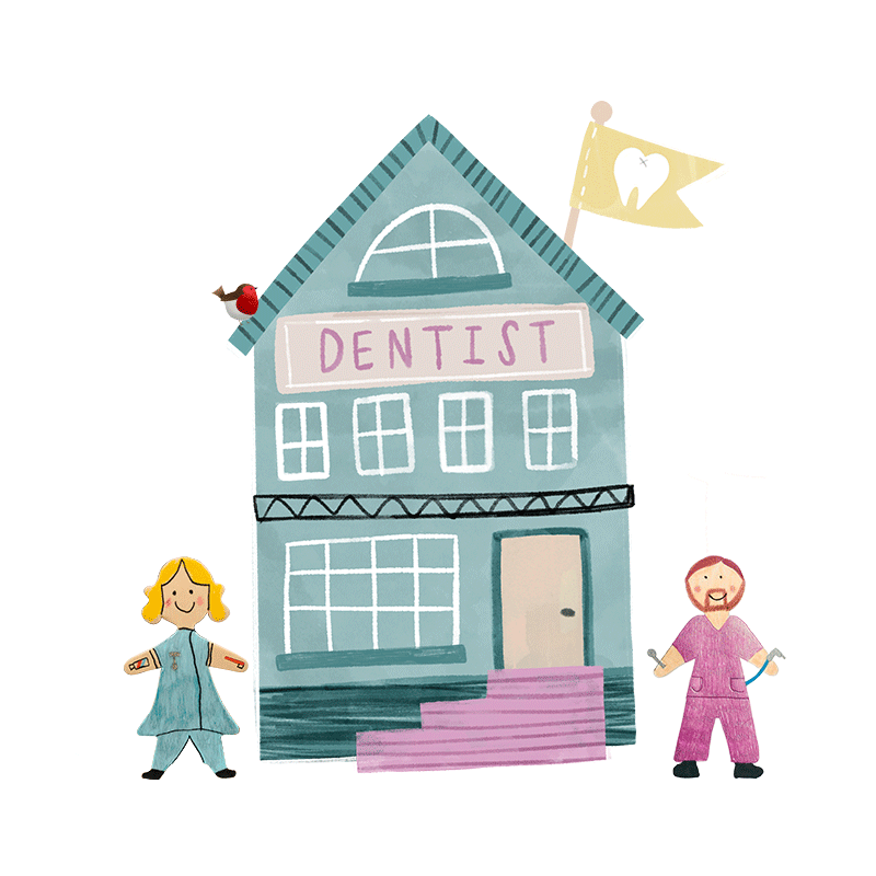 A hand drawn illustration of a blue dentist building.