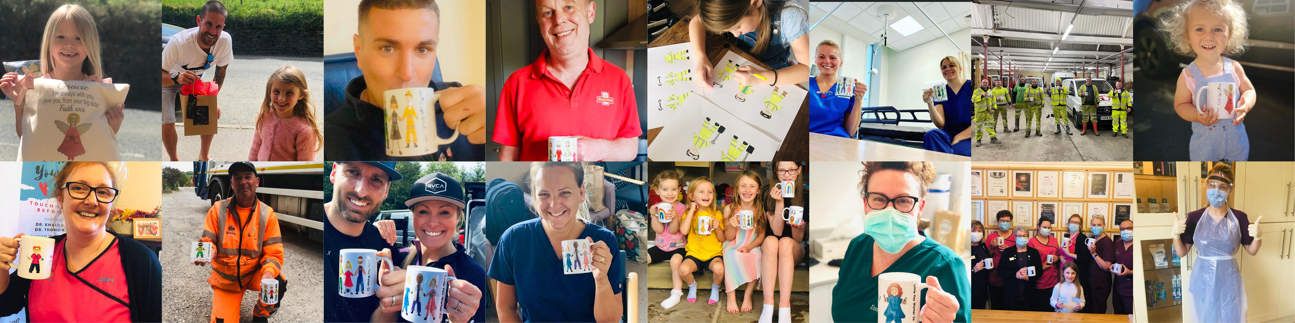 Multiple images of happy customers holding their orders.