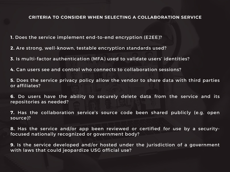 Banner about criteria to choose a safe and secure collaboration software.
