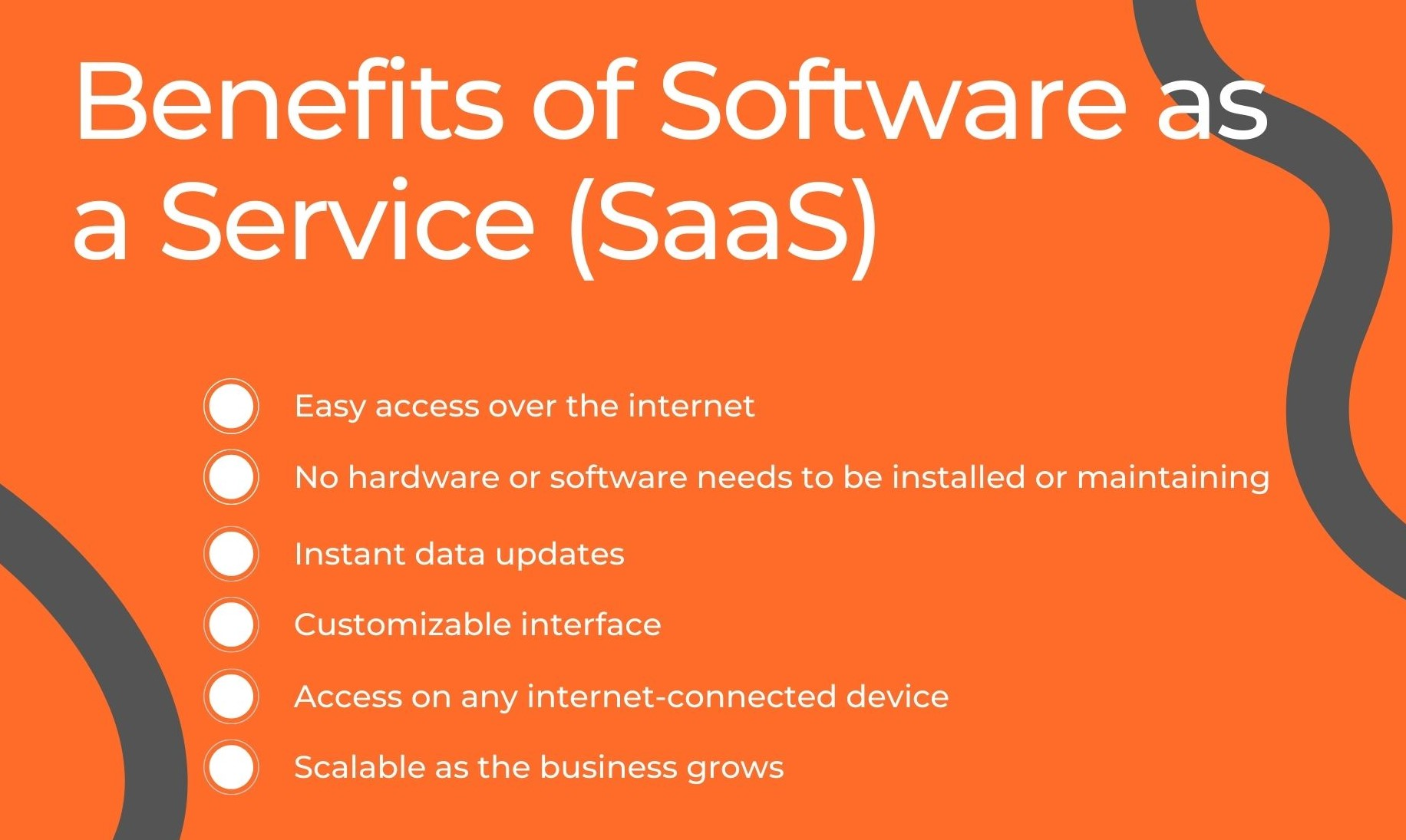 Banner about the benefits of Software as a Service