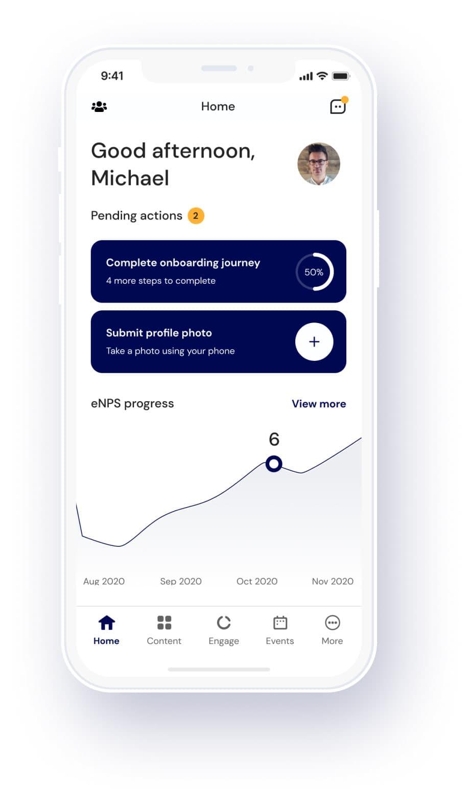 社員エンゲージメントアプリ - 保留中のアクション