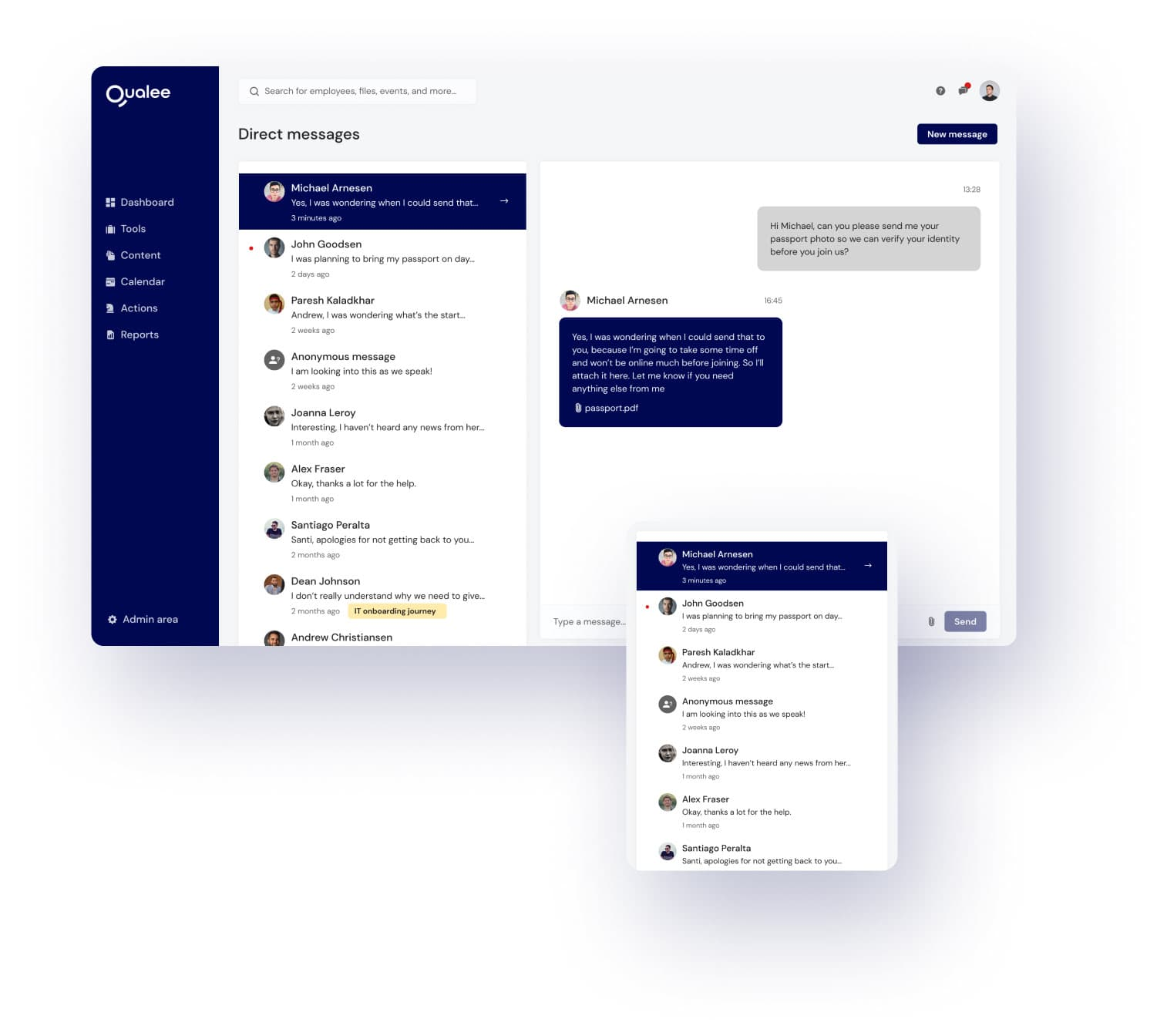 Qualeee Employee Engagement App - Chat directo