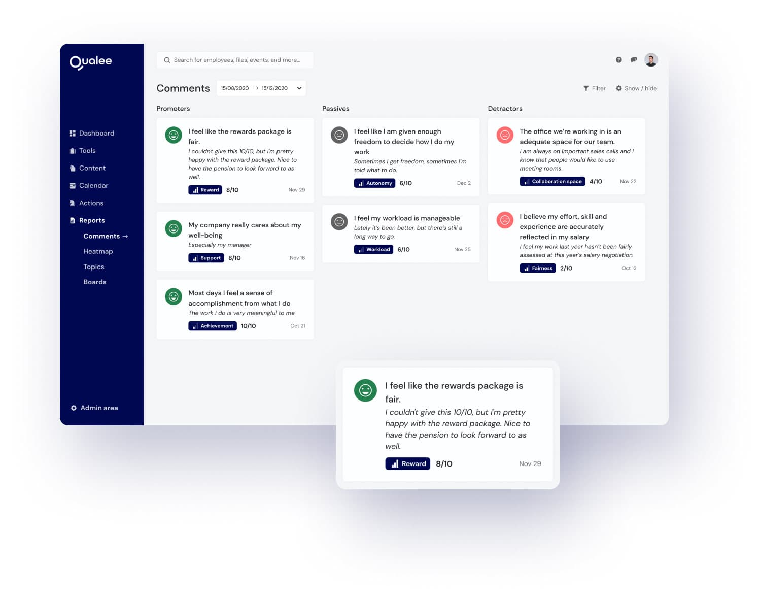 Qualee Employee Onboarding App - Comment Section