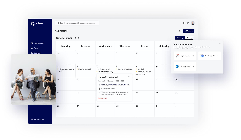 Qualee Employee Onboarding Application - Calendar Feature