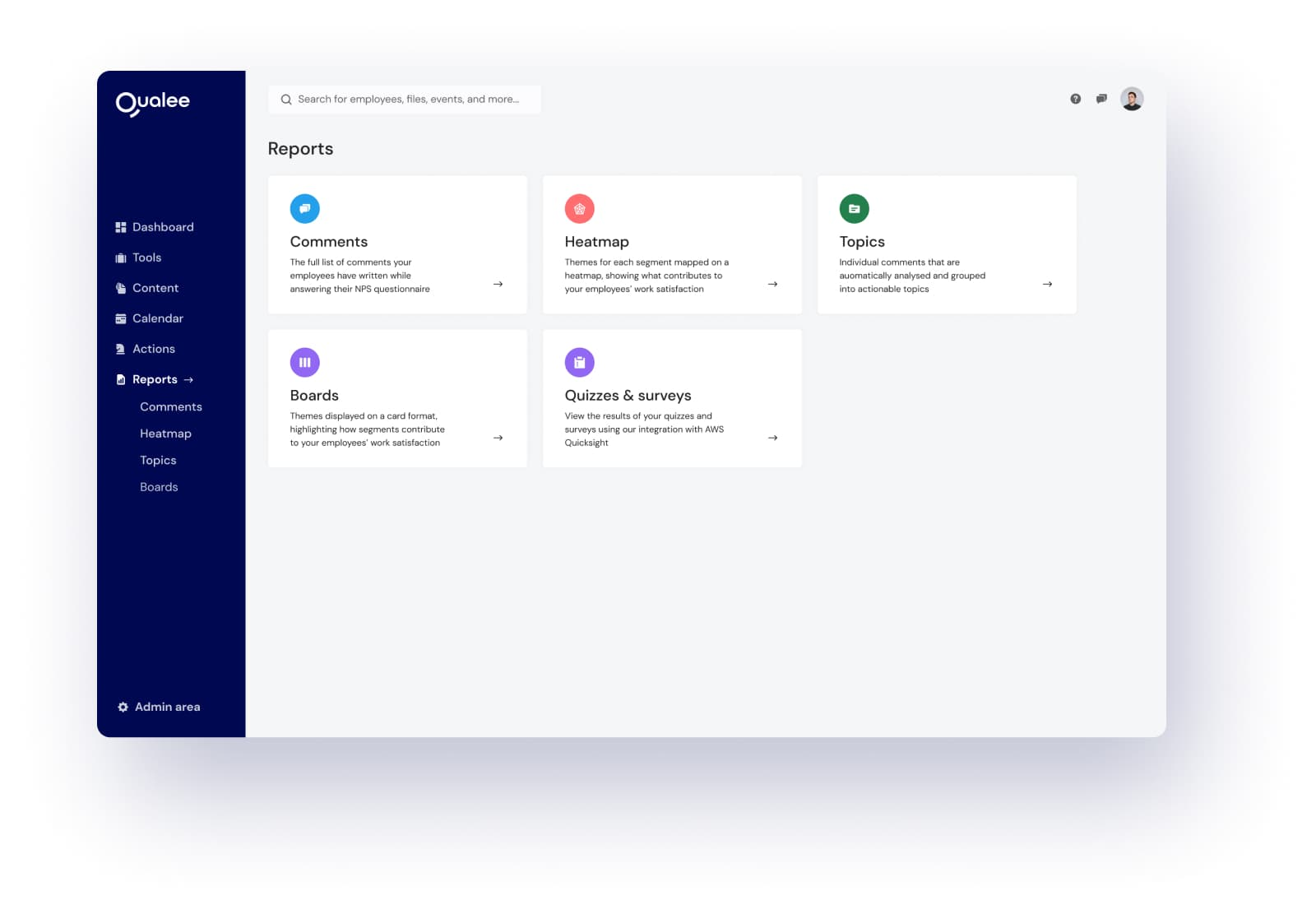 Reports Page on Onboarding Software - Qualee