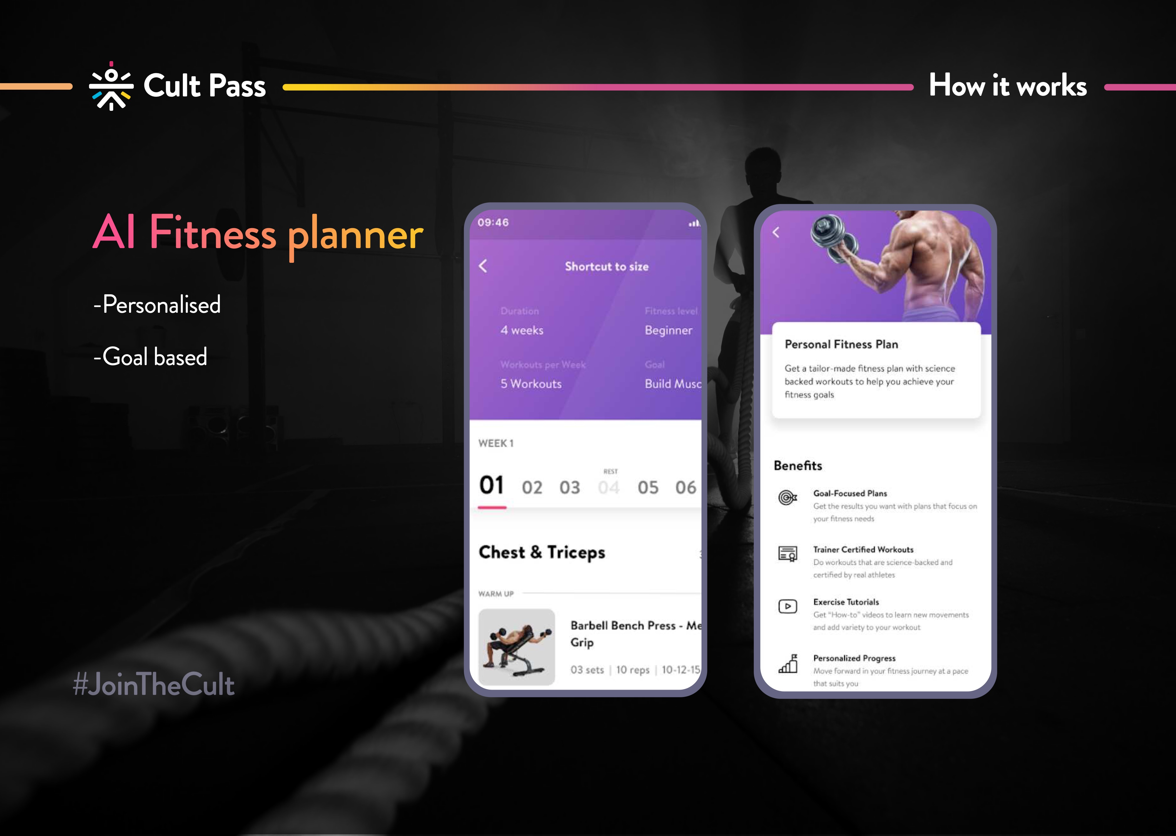 cult pass app screens